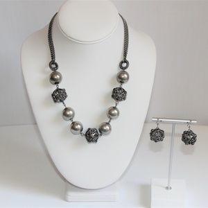 Jewelry - Bali Silver Pewter Rhinestone Necklace & Earrings